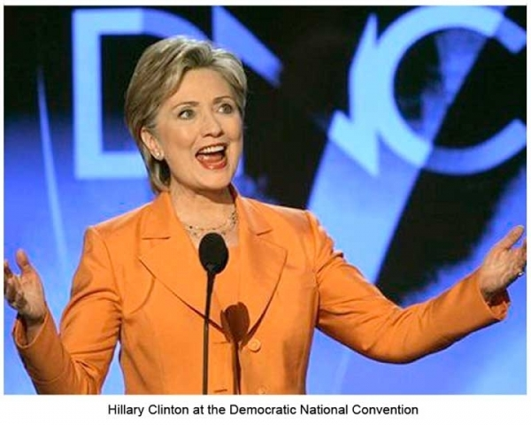Tangerine pantsuit worn by Hillary Clinton