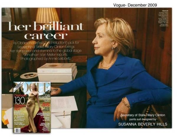 Hillary Clinton wears the navy famous pantsuit