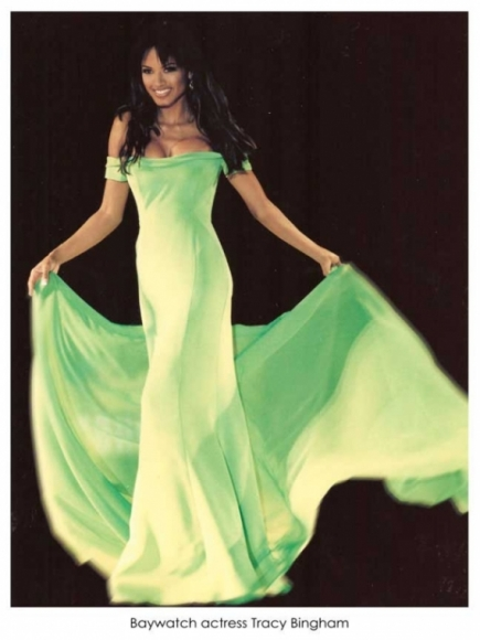 Baywatch actress Tracy Bingham wearing a haute couture green evening dress