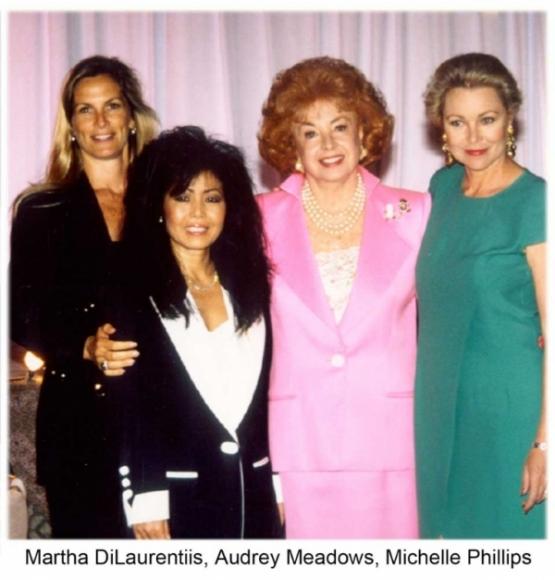 Martha DiLaurentiis, Audrey Meadows, Michelle Phillips and Susanna Chung Forest