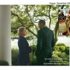 Hillary Clinton wears the navy famous pantsuit designed by Susanna Beverly Hills