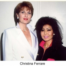 Christina Ferrare wearing a haute couture suit jacket