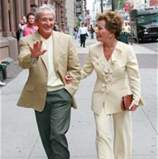 Judge Judy Sheindlin (right) and husband during Judge Judy Sheindlin Sighting in New York City
