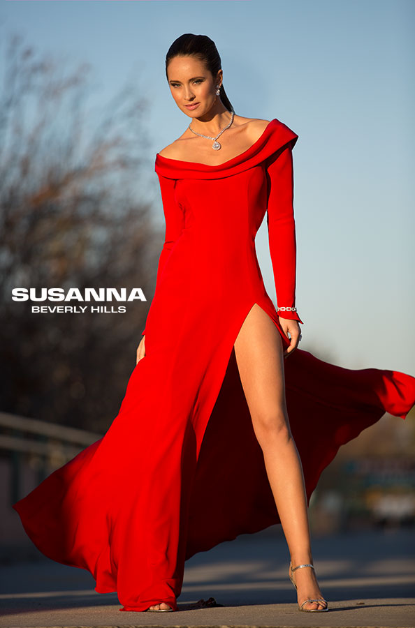 Red evening dress, perfect for red carpet events by Susanna Beverly Hills