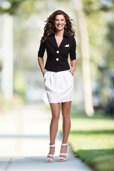 black and white summer suit