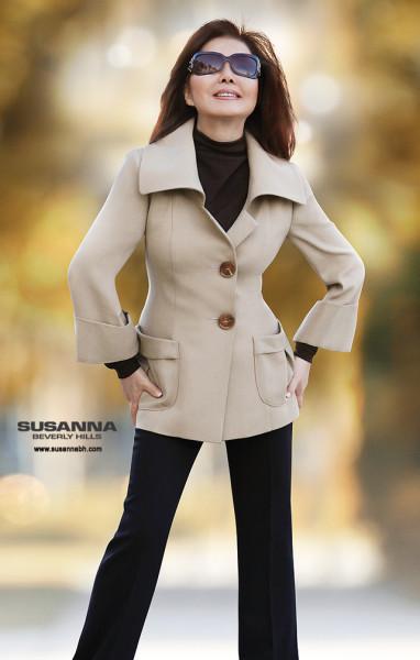 wool crepe tan womens jacket