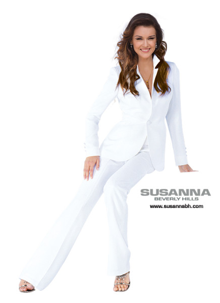 womens white pantsuit