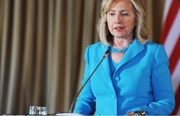 Hillary Clinton wears Famous Blue Pantsuit