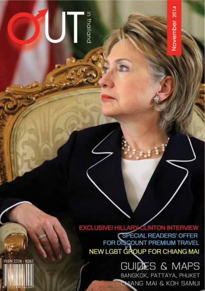 Hillary Clinton wearing Susanna Beverly Hills on the cover of Out in Thailand Magazine Nov. 2014