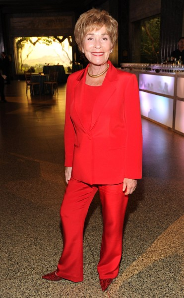 Judge Judy Wearing Susanna Beverly Hills Famous Red Pantsuit