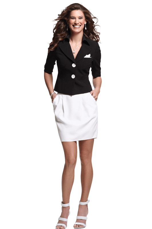 Black and white couture career suit