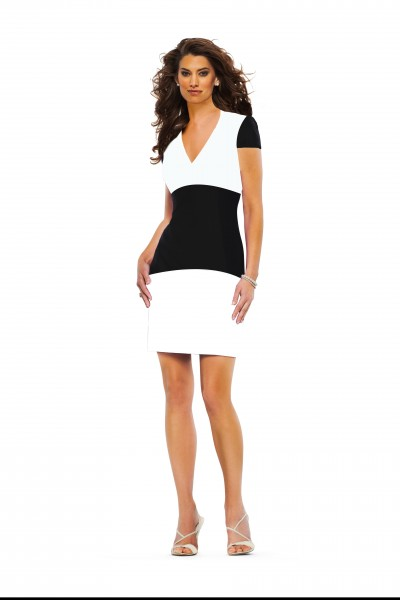 Classic Haute Couture Color Block dress SS15 by Susanna Beverly Hills