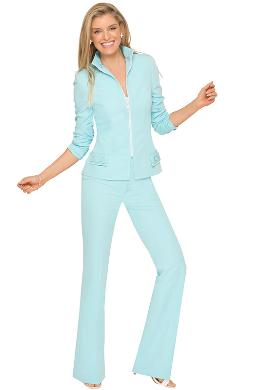 Turquoise Summer Zippered Pantsuit