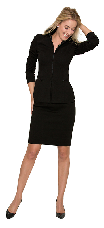 Beverly Hills Womens Fashion - Black Zippered Stretch Skirtsuit