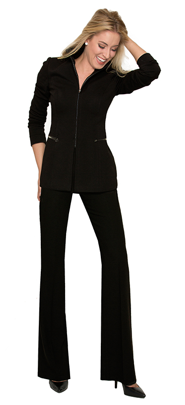 Beverly Hills Womens Fashion - Casual Black Zippered Stretch Pantsuit