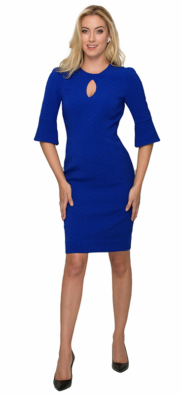 Beverly Hills Womens Fashion - Royal Blue Key Hole Cocktail Dress