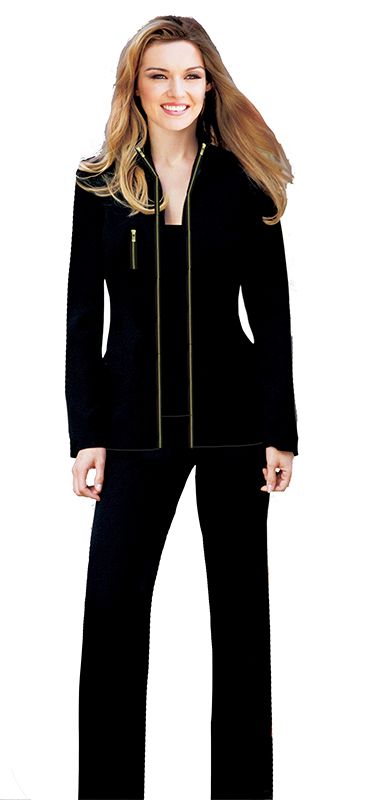 Black Pantsuit with Gold Zippers