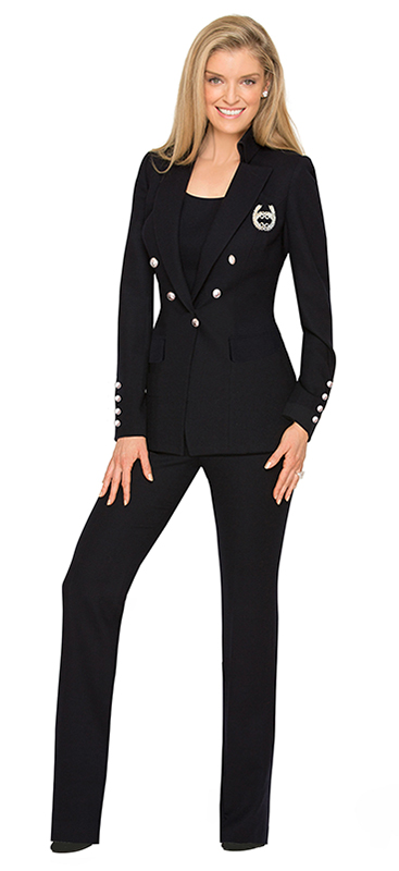 Luxury Navy Wool Crepe Emerald Pantsuit