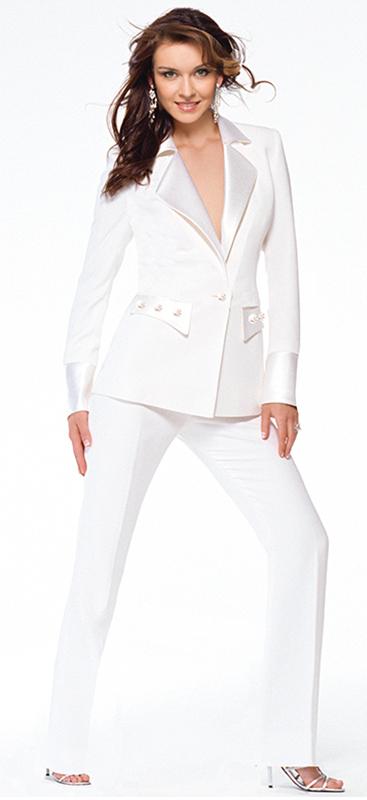 Luxury White Tuxedo Pantsuit
